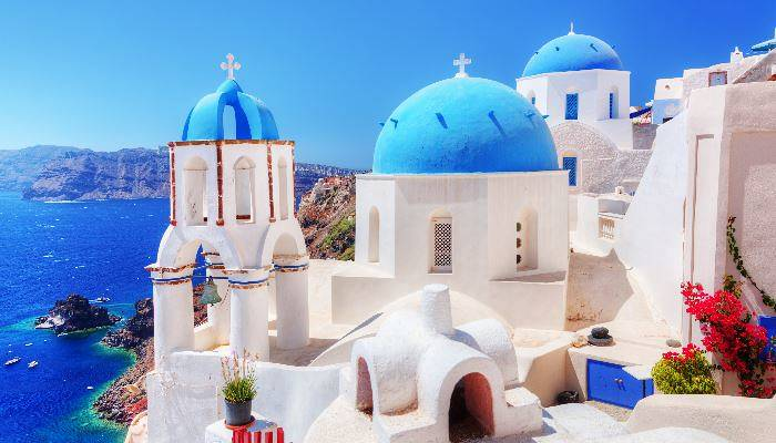 Blue-domed buildings in the Cyclades
